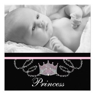 Girls Pink Black Princess Birth Announcements