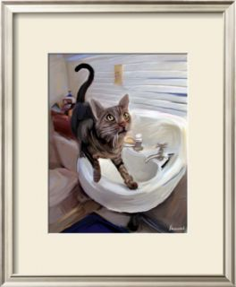 Gray Tiger Cat on the Sink Pre made Frame