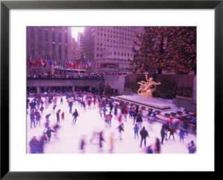 People ice skating, Rockefeller Center, NYC Pre made Frame