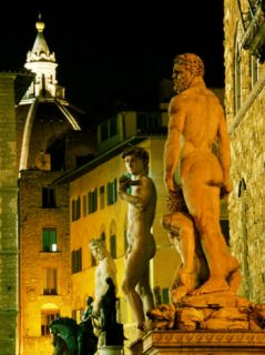Michelangelos David (Copy) and Other Statues on Piazza Della Signoria at Night, Florence, Italy Photographic Print by Martin Moos