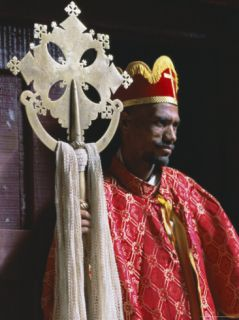 Portrait of a Man Holding a Christian Symbol, Bieta Golgotha, Lalibela, Wollo Region, Ethiopia Photographic Print by Bruno Barbier