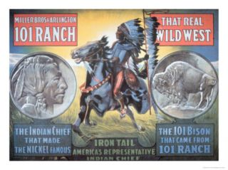 101 Ranch Wild West Show Poster, Featuring Iron Tail, 1913 Premium Giclee Print