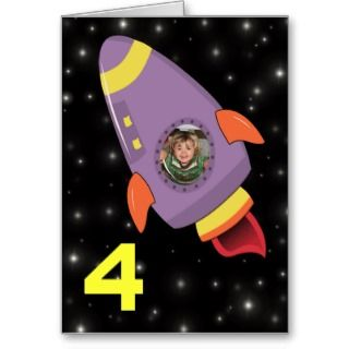 Space Rocket Boys Birthday Card Photo Template