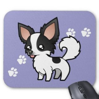 Cartoon Chihuahua (black parti long coat) mousepads by SugarVsSpice