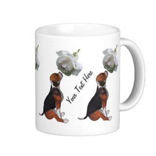 Beagle Puppy White Rose Cute Dog Mug