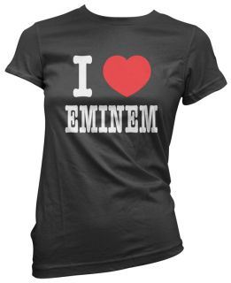Love Heart Eminem Womens Girls Black Ladies T Shirt Cotton Top