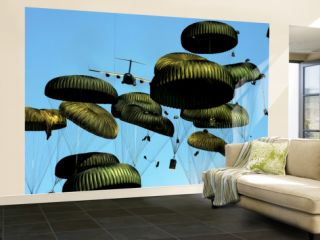 A U.S. Air Force C 17 Globemaster Iii Airdrops Pallets to Port Au Prince, Haiti Wall Mural – Large by Stocktrek Images