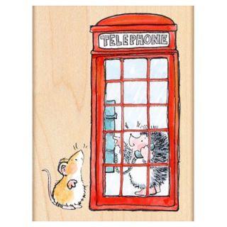 Penny Black Holzstempel LONDON CALLING Igel Maus Telefonzelle rubber