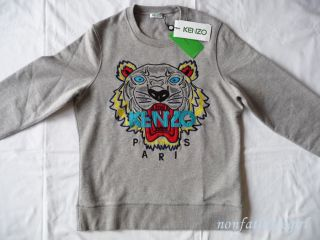 NEW SS 2013 KENZO PARIS TIGER SWEATER SWEAT SHIRT JUMPER GRAY UNISEX