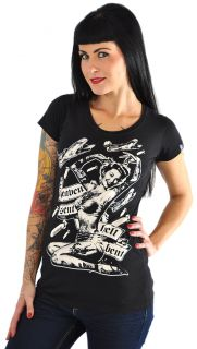 Liquor Brand HEAVEN SENT Hell Bent Rocket PIN UP T Shirt SHIRT