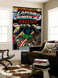 Captain America And The Falcon #204 Cover: Captain America, Falcon and Agron Fighting Laminated Oversized Art by Jack Kirby