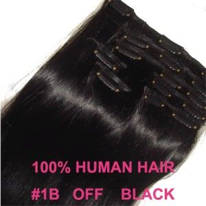 24INCH 60CM CLIP IN HUMAN HAIR EXTENSIONS OFF/NATURAL BLACK #1B 120g