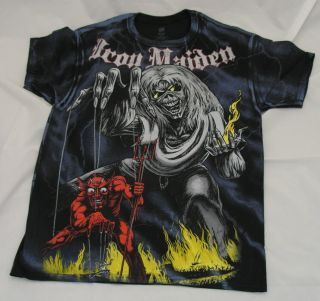 IRON MAIDEN Sketched Number of the Beast Allover Print S M L XL tee t