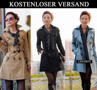 Damen Jacke Mantel Gürtel Trenchcoat Long Gr 36 44 Luxus Bow