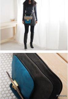 Blue Black Leather Suede Crossbody Messenger Bag