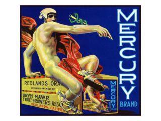 Redlands, California, Mercury Brand Citrus Label Print