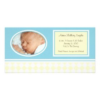 Dotty Checks Boy New Baby Birth Photo Cards