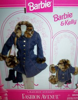 Barbie & Kelly Fashion Avenue Matchin Styles Jeans Coat Leopard Fur