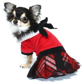 Hip Doggie School Girl Red Velvet Plaid Dress   Jumper for Dogs	   Clothing & Accessories   Dog