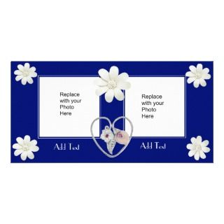 Photo Card Dark Blue Heart Floral Double