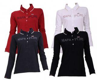 Napapijri Poloshirt T Shirt Eclisse langarm cardinal weiss black