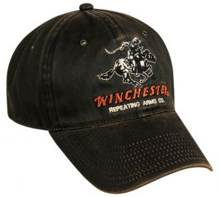 Winchester Logo Worn & Oiled Look Brown Deer/Elk Hunting Hat/Cap FAST