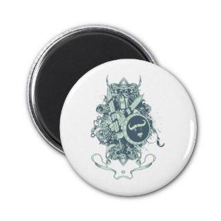 Skull ~ Shield & Armor Skull Fantasy Art Refrigerator Magnet
