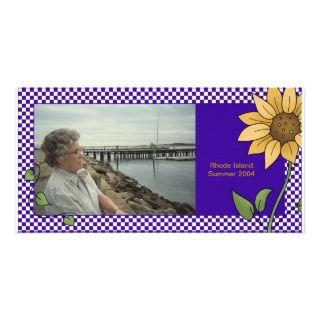 Sunflower Purple Checks Photo Card