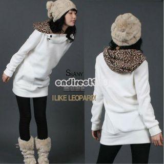 Damen Hoodie Leopard Hoody Kapuzenpullover Sweat Shirt Kapuzenjacke