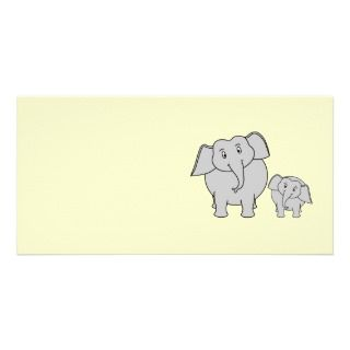 Two Elephants. Cute Adult and Baby Cartoon. Personalized Photo Card
