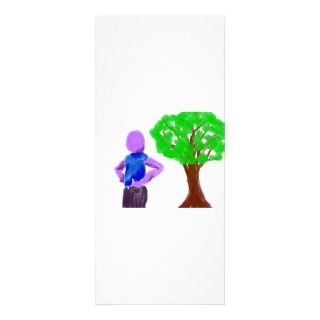 Purple Cartoon man and green oak tree Custom Rack Card