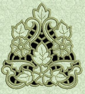 Exotic Floral Cutwork #1 Machine Embroidery Design CD 4x4 for Brother