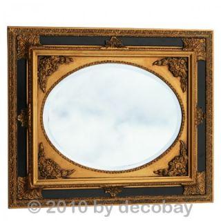 Ovaler Barock Wand Spiegel mit gold schwarzem Holzrahmen im Antik Look