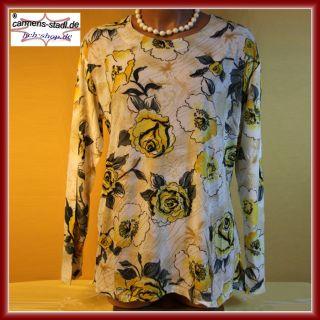 Tunika Shirt Hemd langarm Gr. 46 gelb creme mehrfarbig Flower