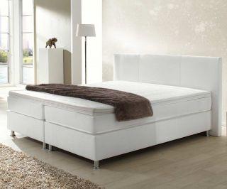 Boxspringbett Holiday 160x200 cm Weiss Bett mit Matratze 160 cm