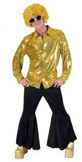 DISCO PAILLETTEN HEMD GOLD Hippie Kostüm Herren 52 54