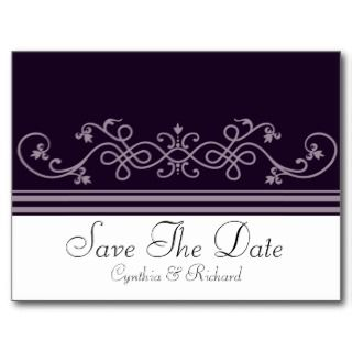 Deep Purple Violet Wedding Save The Date Postcard