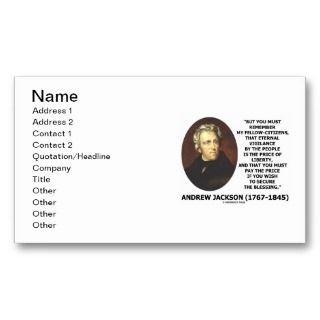 Andrew Jackson Price Of Liberty Price Secure Quote Business Card