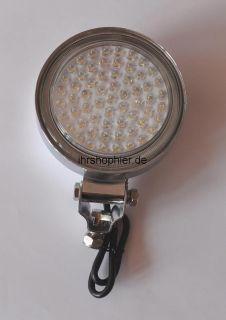 61 LED CHROM ZUSATZ SCHEINWERFER 24 Volt LEDs WEIß NEU