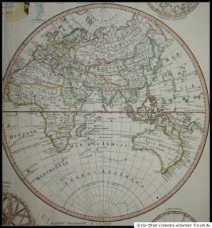 1815 Weltkarte Map of the World Mapa do Mundo Portugal Kolorierte