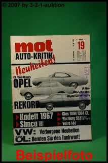 MOT 19/66 Opel 67 Glas 1304 TS Wartburg 1000 Typ 353