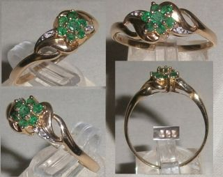 Toller Ring 585 Gold Gr. 67 mit smaragdfarbenen Steinen