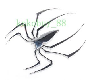 AG5594 Lovely Brand New Car Auto Silver Tone Metal Spider Shapes Badge