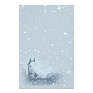 Blue Christmas Horse Lovers   Darker Blue Stationery Paper