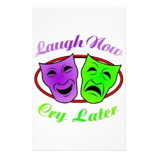 Laugh Now Cry Later Masks Personalized Stationery