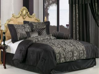 7pcs Black Faux Silk Embroidery Swirl Comforter Bed In A Bag Set Queen