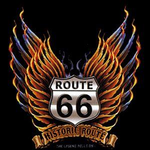 00918 American Route 66 Motorrad Biker Motiv T Shirt
