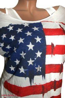 tlg T Shirt Top+Shirt USA Flagge Vintage Used weiß Gr. 36/38/40 NEU