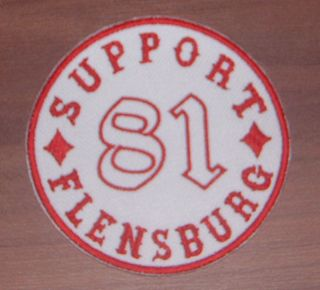 Support 81 Flensburg Aufnäher Patch Big Red Machine Red & White