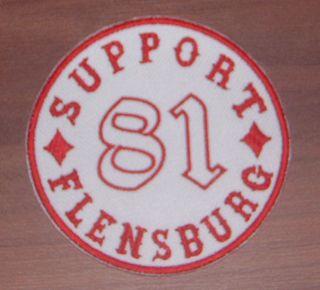 Support 81 Flensburg Aufnäher Patch Big Red Machine Red & White